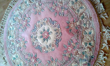 Brand NEW 100% Wool CHINESE Rug ROUND 4X4 120 CM X120CM  PALE PINK Rose