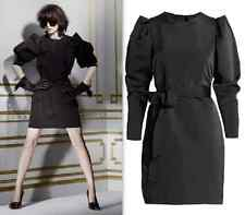 New LANVIN for H&M sz 34 / 4 black long sleeve cocktail dress belted