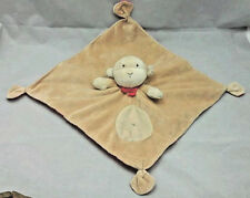 """Carters Monkey Blankie Baby Rattle Tan Brown Red Satin Plush Toy 13"""" X 13"""""""