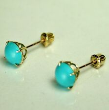 14ksolid y/gold 6mm cabochon natural Arizona Turquoise stud screw back earrings