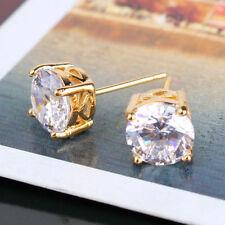 Solitaire cristal blanc simulé diamant 24ct or jaune rempli boucles d'oreille