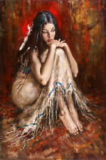 Stunning Oil painting female portrait nice young girl seated on floor canvas