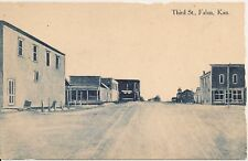 View on Third Street in Falun Kansas Postcard