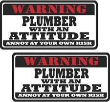 """2 - 3"""" Plumber funny Warning Tools Auto Motorcycle Decal Hat Sticker WS1"""