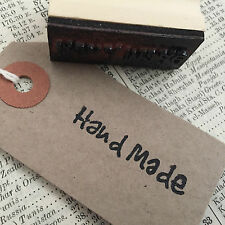 'Handmade' Wooden Printing Stamp - Craft Tags Card making Hand Made Handwritten