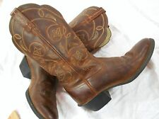 "ARIAT WOMENS BROWN Leather MID CALF 13"" TALL Cowboy Boots Sz 6.5 B   GOOD COND"