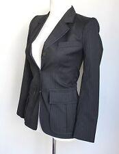 Yves Saint Laurent Rive Gauche Negro Chaqueta Blazer de hombro a Rayas Sharp UK 6