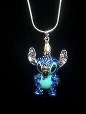 "Disney Crystal Covered 3-D Stitch 18"" Necklace"