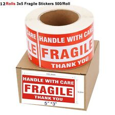 12 Rolls 500/Roll LARGE 3x5 Fragile Stickers Handle With Care Shipping Labels
