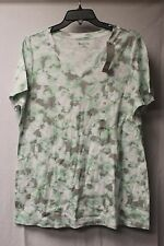 CUTE NEW WOMENS PLUS SIZE 2X SUMMER WHITE & GREEN TIE DYE PATTERN TEE SHIRT TOP