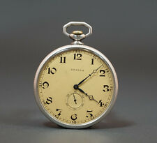ANTIQUE SWISS ZENITH SILVER POCKET WATCH ART NOUVEAU FLOWER CASE 47mm. WORKING