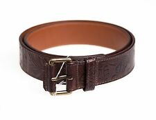 SANTONI Genuine Leather Belt 36 (95) Hand-made in Italy ~ Brown Etro Floral