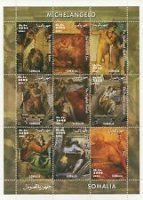 MICHELANGELO HIGH RENAISSANCE BIBLICAL ART SOMALIA 2001 MNH STAMP SHEETLET