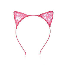 Rose Red Women Girls Kids Cute Cat Costume Ear Party Lace Hair Head Band Prop