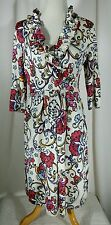 Lily Pulitzer Size M Blayney Dress Ruffle Cameo White Big Bells Multi-Color Boho