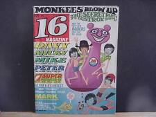 Vintage 16 Magazine (Sixteen) for Teenagers-August 1967 Issue-MONKEES-RAIDERS