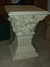 Contemporary Resin Marble Appearance Fancy Pedestal Plant Stand w/ Cherubs