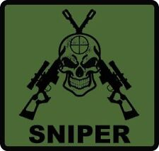 SNIPER SKULL Decal MILITARY SUBDUED Vinyl Sticker ARMY MARINES sniper rifle