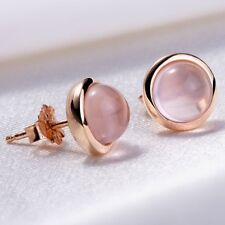 New Rose Gold Plated Earrings Jewelry Women Pink Crystal Round Stud Earrings