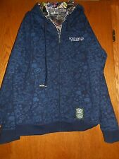 RARE Design Ecko Unltd Men's Silky Reversible Hip Hop Hoodie Navy Zip Up Size XL
