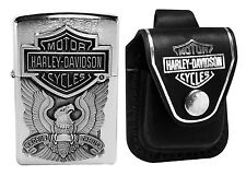 Zippo Lighter 200HD.H284 Harley Davidson Brushed Chrome + HDPBK Black Pouch Clip