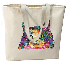 Artsy Neon CAT New Oversize Canvas Tote Bag Shop Travel Gifts
