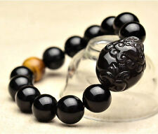 Natural Obsidian Black Jade Agate Bead Bangle Bracelet Chinese Dragon Pixiu W129