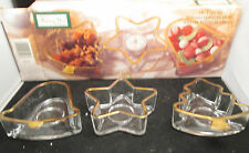 Indiana Glass Holiday Gold 3 Pc. Party Set in box Tree Bell Star gold trimmed