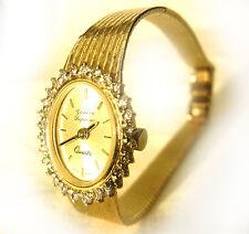Vintage Lady's 14K Yellow Gold Quartz Geneva Bracelet Watch - VS Diamonds