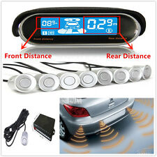 Front/Rear Reverse Car Parking 8 Silver Sensors Kit Buzzer Alarm Dual Display