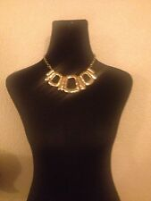 Macy's Style&co NWT Gold Chain Link Choker Statement Metal Necklace Bib Pendant