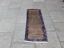 Old Traditional Hand Made Persian Rug Oriental Wool Brown Short Runner 140x57cm