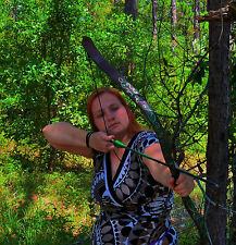 Wood Elf Recurve Bow (30#) with Green Vine Pattern