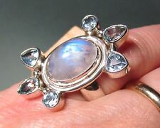 925 silver 10gr rainbow moonstone & cut topaz ring UK N½/US 7