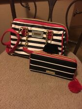Betsey Johnson Red/black/white stripe Satchel With Matching Wallet And Puff Ball