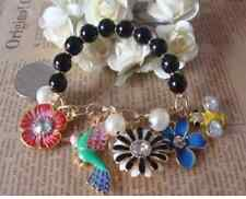 B78 BETSEY JOHNSON Hawaiian Tropical Beads w/ Flower Bird Leaf Bee Bracelet US