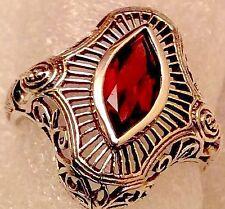 2 Carat Natural Garnet Sterling Silver Filigree Ring Size 7 3/4 SOLID 925