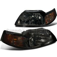 1999-2004 Ford Mustang V6 GT Head Lights W/Corner Lamps Smoke