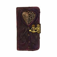 Heart Vessel Purple iPhone 6 Case Cover Genuine Leather Handmade Flip Side