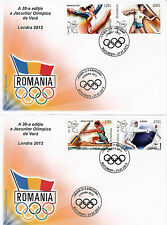 Romania 2012 FDC London Olympics 4v Set on 2 Covers Games Fencing Canoe Javelin