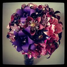 Paper Flower Origami Wedding Bouquet Vintage Buttons Alternative Origami Flowers
