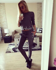 Calvin Klein Tracksuit Set  Crop Top Bottoms Dark Grey Small S 6 8 10 Gym