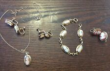 Vintage Gold Fill Genuine Carved Shell Cameo Bracelet Necklace Earrings Mix Lot