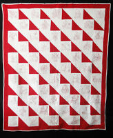 Antique 1900 Red and White Embroidered Kewpie Quilt