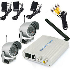 DIY 2.4G Wireless Indoor/Outdoor Security Surveillance 2 CCTV Video Camera Kit