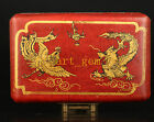 Chinese Vintage Collectible Old Hand Box Wood Leather Painting Longfeng