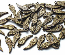 50 x mini 17mm bronze tone bird feather angel wing charm embellissement steampunk