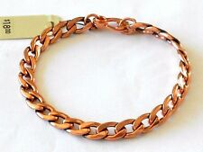 "NEW Solid Copper Flat Gound 8"" Oval Chain Link Bracelet - Pain Relief Folklore"