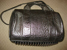 ALEXANDER WANG Studded Rocco Bag in 'Carbon' Gray Metallic Leather Rhodium NWT