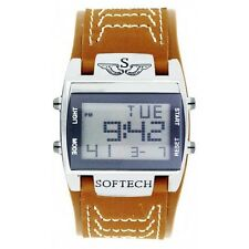 Softech Men's Digital Sports Watch Wide Tan Brown Strap Rectangle Face Quartz